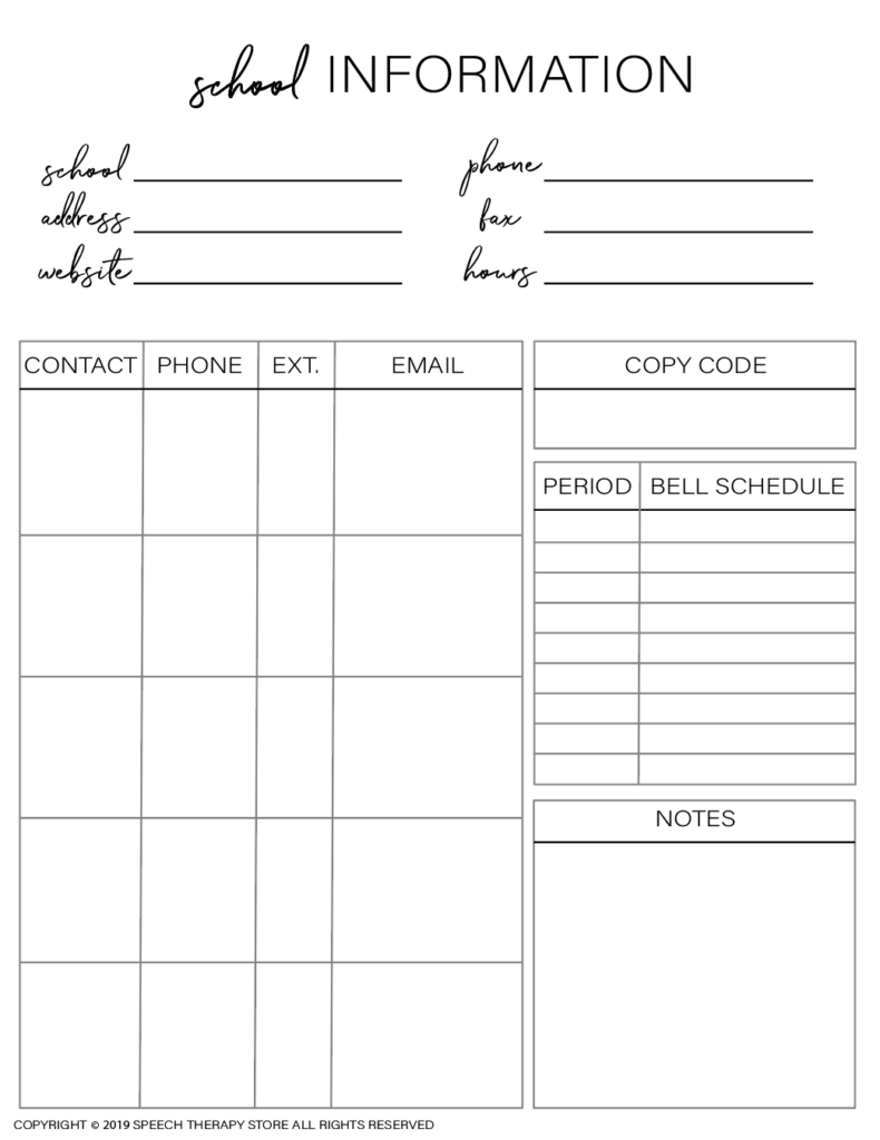 Free SLP Planner School Info