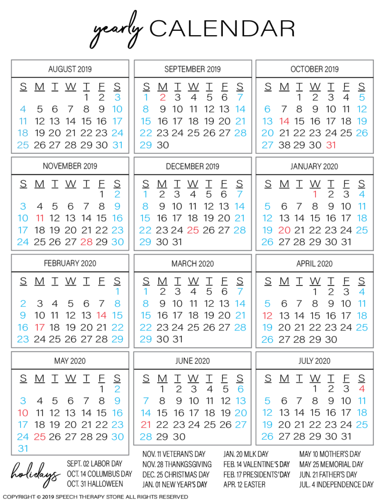 Free SLP Planner Yearly Calendar