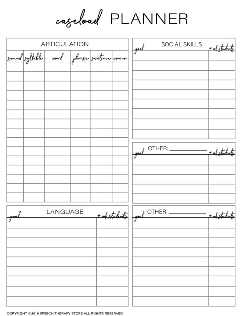 Free SLP Planner Caseload Overview