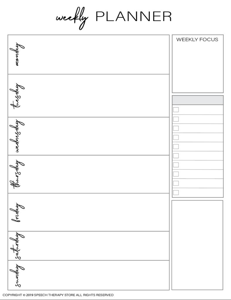 Free SLP Planner Weekly Blank Planner