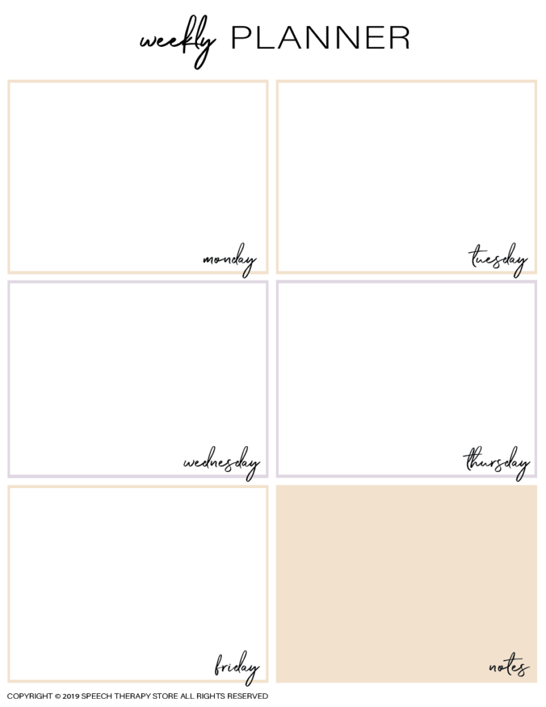 Free SLP Planner Weekly Blank Colored