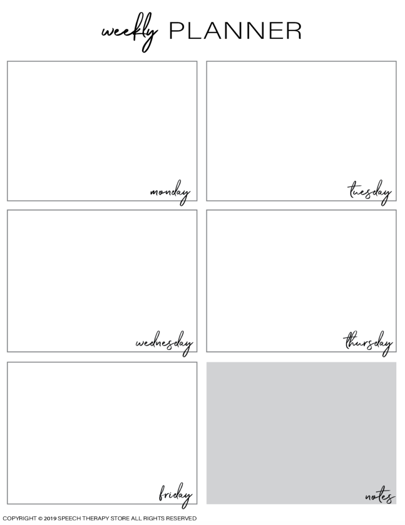 Free SLP Planner Weekly Blank No Color