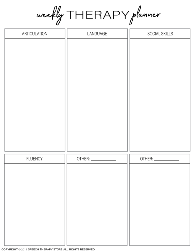 Free SLP Planner Weekly Therapy Planner