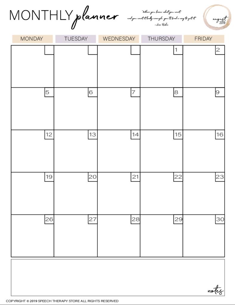 Free SLP Planner Monthly Planner