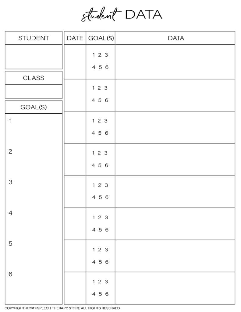 Free SLP Planner Data Tracking Individual 8